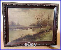Antique 1907 original realistic LM fall river landscape oil painting on canvas