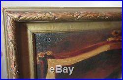 Antique 1914 O. B. Original Folk Art figural cats playing oil painting on canvas