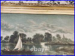 Antique 19C (1885) Nautical Oil Painting Tourists In Boat On River With Swans