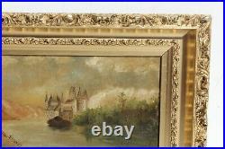 Antique 19c. Original Oil Painting on canvas Landscape, Castle, unsigned, framed