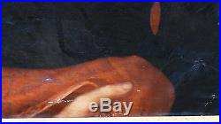 Antique 19c Original Painting On Canvas Of Miss Ethel L. Georgensin Black Dress