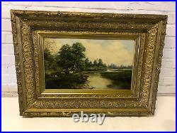 Antique 19th Century Oil on Canvas Board Painting of Cows in Landscape by Stream