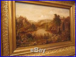 Antique 19th Century Original American Master Victorian Painting Oil On Canvas