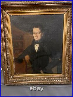 Antique 19th Century Portrait Painting of a Man