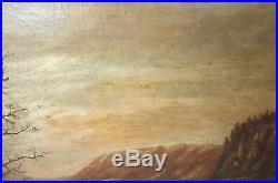 Antique 19th century original landscape nautical row boat oil painting on canvas