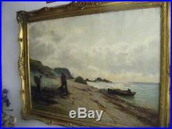 Antique Andrew Black Scottish seascape oil painting