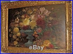 Antique Dutch School Floral Still Life Oil Painting on Artist Board Framed