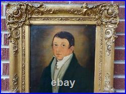 Antique FEDERAL GENTLEMAN Folk Oil Portrait Painting GOLD Gilt Frame c1830-40s
