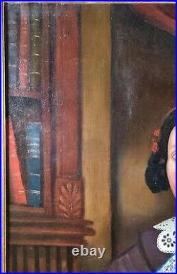 Antique Folk Art Oil Portrait Painting American Woman Southern Lady 19th century