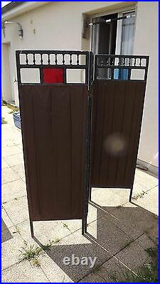 Antique French 1900 oil paint canvas 3 Wood Panel Screen Room Divider Art deco