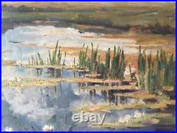 Antique French Impressionism oil painting The water lilies signed