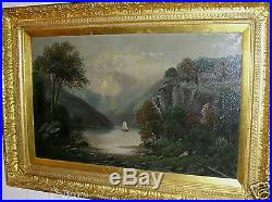 Antique Hudson River School Oil Painting Large Size Circa 1800's Signed