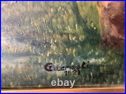 Antique Landscape oil on canvas painting signed and dated 1921 with gilt frame