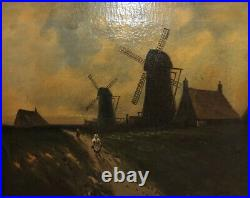Antique Oil Painting Oil On Canvass European Flemish Windmill Scene H. Lewis
