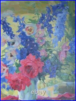 Antique Oil Painting of Anna Gasteiger's Anemons and Larkspur c. 1930's
