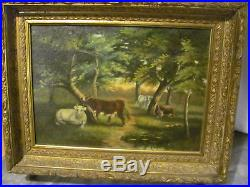 Antique Oil on Canvas Painting Cows in Woods withOriginal Victorian Frame