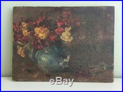 Antique Oil on Canvas Still Life Painting Jug Flowers Signed Small 30x23cm p18