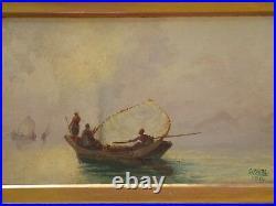 Antique Orientalism Painting Signed 19th Century Impressionism Ocean Seascape