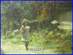 Antique Original Art Oil painting on Canvas T H McKay Child walking by Lock Eck