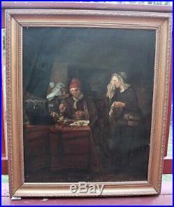Antique Original Oil Painting on canvas After Gabriel Metsu, Usurer, Unsigned