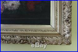 Antique Original Oil on Canvas Floral Still Life Painting, Asters, Framed