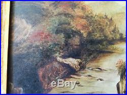 Antique Original Oil on Canvas Landscape with Deer in Aesthetic Gilt Gesso Frame