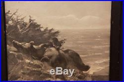Antique Original Signed Carl Rungius Oil on Canvas Bear Landscape Painting Art