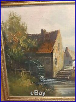 Antique Original Signed Oil Painting On Canvas House River Landscape