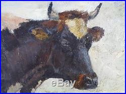 Antique Painting Cow in the Pasture Oil On Canvas Original Old Vintage