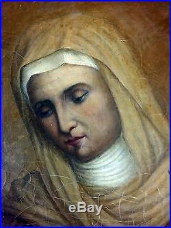 Antique Painting Religious Scene Oil On Canvas Original Old Vintage