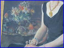 Antique Portrait Painting Iconic Estate Female Model Pretty Antonio Barone Deco