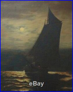Antique Portrait Painting Ship Sailing in Moonlight Oil on Canvas Nautical