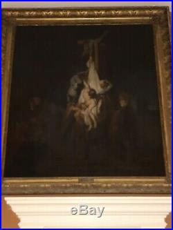 Antique Rembrandt Oil Descent From The Cross Signed