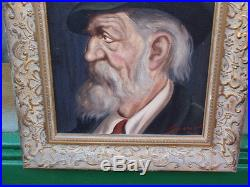 Antique Signed Portrait Gentleman Framed Original Oil Painting On Canvas