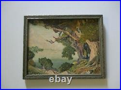 Antique Small Gem Oil Painting Early California Coastal Landscape Plein Air Old