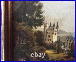 Antique Victorian European Landscape Oil Painting Great Old Castles & Fishermen