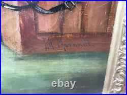 Antique Victorian Gilt Framed Signed Oil Painting On Canvas Mischievous Lads