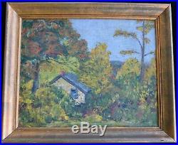 Antique Vintage Original Landscape Oil Painting on Canvas Rustic 19th C American