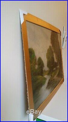 Antique/Vintage Original Oil Painting on Canvas by Mala, Rural River Landscape