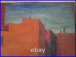 Antique Wpa Style Painting Fire House American Modernism Regional 1940's Vintage