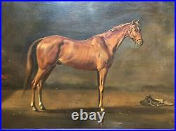Antique circa 1922 Equestrian Large Horse Portrait Oil Painting