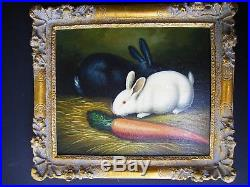 Antique oil painting black and white rabbits with carrot original on canvas