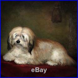 Antique original oil painting on canvas portrait of a dog 19th century British