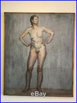 Antique vintage Nude original oil painting on canvas