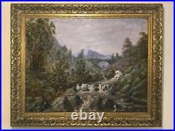 Antique vintage gilt framed signed original oil painting on canvas Fly fishing