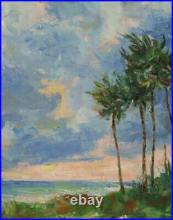 Art Oil Original Painting RM Mortensen Seascape Landscape Beach Palm Trees