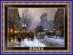 Art Original Landscape Oil Painting Impressionism Paris Street on Canvas 24x36