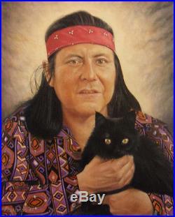 Art Pressman Gorman and His Cat R. C Gorman portrait Original Oil on canvas