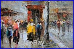 Autumn Street Scene Cityscape, Wooden Framed Painting, Original Oil On Canvas