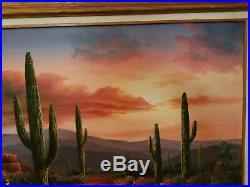B. Duggan Original Signed Framed Oil on Canvas Desert Scape. 38 X 26